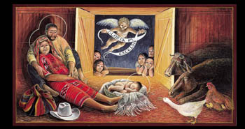 "15.) - Guatemalan Nativity - Inside: Gloria in Excelsis Deo! Suddenly a great company of the heavenly host appeared with the angel, praising God and saying, ""Glory to God in the highest, and on earth peace to men on whom his favor rests."" (Luke 2:13-14) (Fr. John Giuliani)"