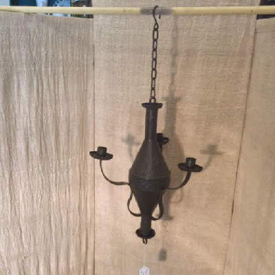 RARE 18th-19th c. - Tin Hanging Three Candle Chandelier In Old Paint - Great Early Form - Embossed Decoration
