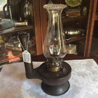 Steam Gauge Patented Tubular Hand Lamp - 1874 - Irwin Patent Tin Kerosene Lantern