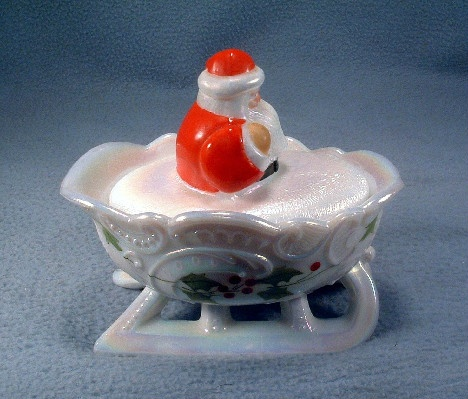 Hand Painted - White Iridized Glass - Santa In Sleigh Covered Dish - Vintage Westmoreland - Artist Signed