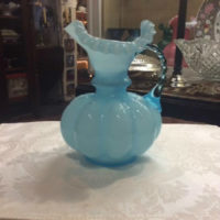 "Fenton - Blue Overlay Pitcher - Melon Body w/ Ruffles On Rim - Large 8"" Tall - Vintage"