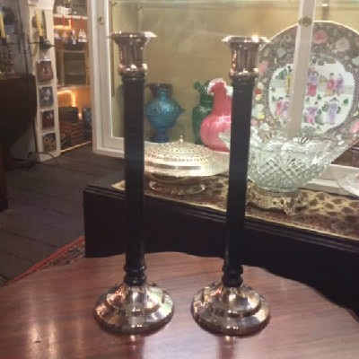 Elegant - Leather & Silver Plate Candle Candlesticks Kenneth-Turner - London - Downton Abbey Elegance