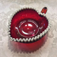Ruby Glass Snow Crest Heart Shaped Candy Dish - Vintage Fenton - 1979