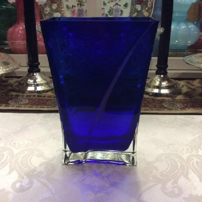 Cobalt Blue & Crystal Cased Glass Pillow Vase - Vintage