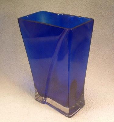 Cobalt Blue & Crystal Cased Glass Pillow Vase - Vintage