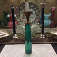 Aquamarine Crackle Glass Bottle/Decanter w/ Brass Stopper - Super Retro Mid Century Modern Design