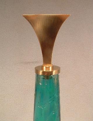 Aquamarine Crackle Glass Bottle/Decanter w/ Brass Stopper - Super Retro Mid Century Modern Design