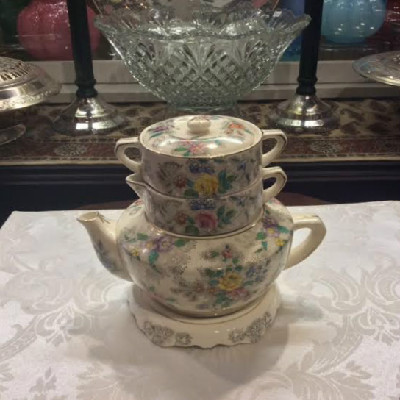 Stacking Floral Tea Set w/ Tea Tile - Tea Pot - Sugar - Creamer - Tea Tile