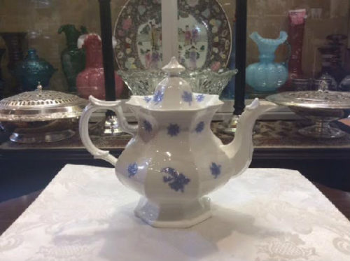 Chelsea Blue - Porcelain Tea Pot - Antique - Adderley England Ca. 1900 - A Timeless & Classic Form