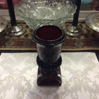 Ruby Red Glass Dancing Nudes Urn Vase - Early Imperial Glass - RARE