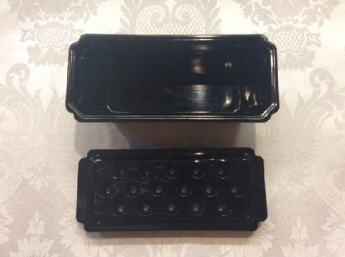 "Black Amethyst ""Window Box"" Flower Frog - Vintage L. E. Smith Glass"