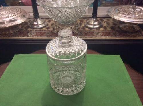 Clear - Hobstar Pattern - Lidded Biscuit / Candy Jar - Vintage Imperial Glass