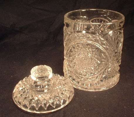 Clear - Hobstar Pattern - Lidded Biscuit / Candy Jar - Vintage Imperial Glass