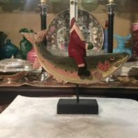 Hand Carved Santa Riding A Rainbow Trout - American Folk Art - The McAlister Collection