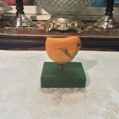 Hand Carved Yellow Chick - American Folk Art - The McAlister Collection