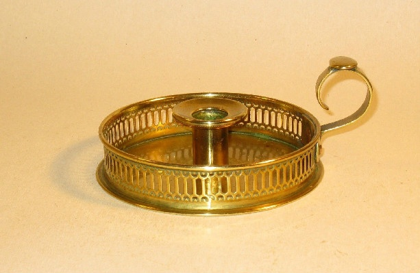 19th Century - Ornate Brass Candle Holder w/ Finger Loop