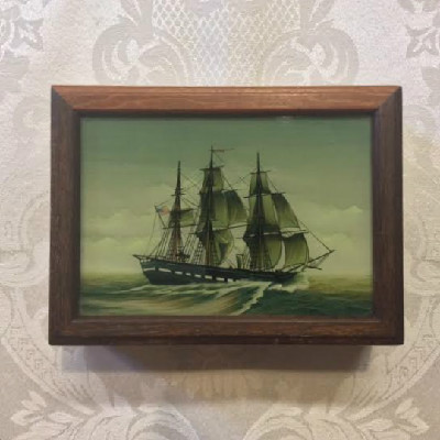 Marine Art - Reverse Painting - Ship's Portrait On Mahogany Box