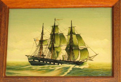 Marine Art - Reverse Painting - Ship's Portrait On Mahogany Box