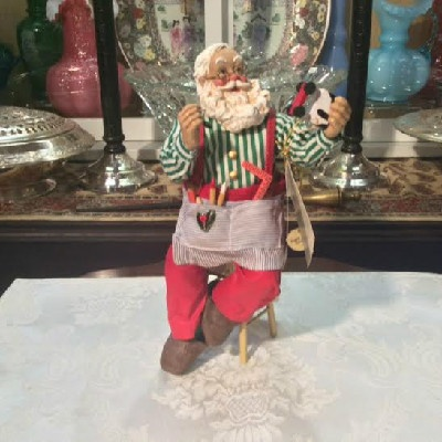 Clothtique Possible Dreams Santa Claus Making Toys - 1995 - Vintage