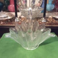 Feather Pattern - Large 11 Inch Tall Glass Basket - By The L. E. Smith Glass Company