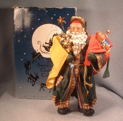Clothtique Possible Dreams Santa Claus in Green Robe - 1991 - Vintage