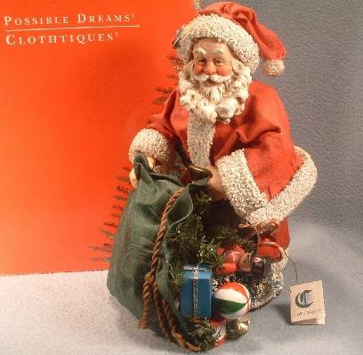 """Wishes Come True"" - Clothtique Possible Dreams Santa Claus - 1993 - Vintage Christmas"