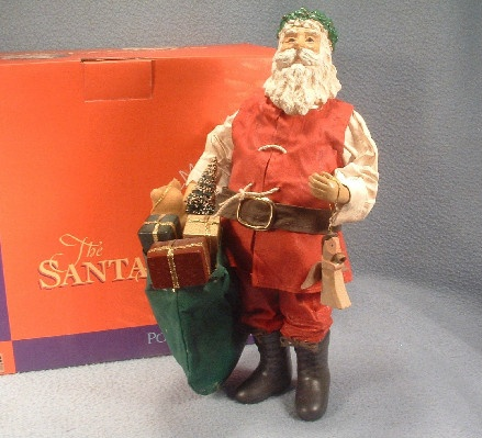 Clothtique Possible Dreams Santa Claus with Wooden Angel - 1986 - Vintage