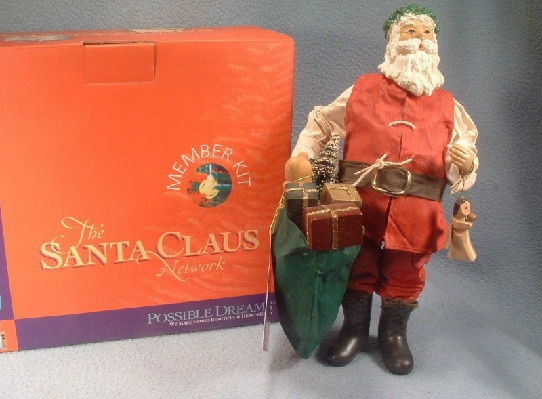Clothtique possible dreams santa claus with wooden angel