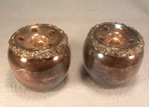 Baroque Pattern Candle Holders w/ Flower Frogs - Pair - Vintage Wallace Silverplate