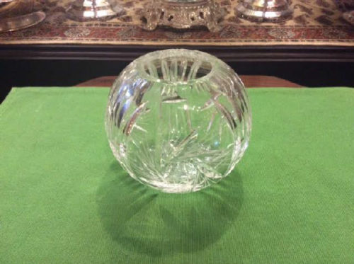Rose Bowl Vase - Crystal- Clear Cut Glass - Whirling Star Pattern