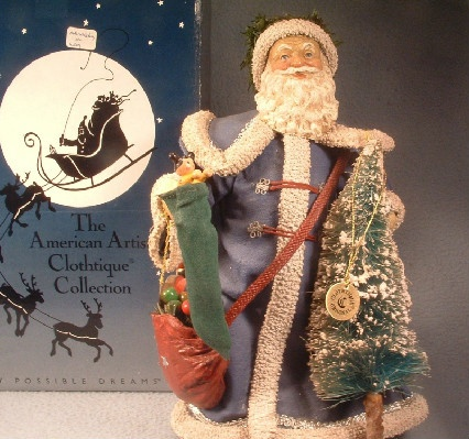 Clothtique Possible Dreams Santa Claus in Blue Robe w/ Tree & Stocking - 1989 - Vintage