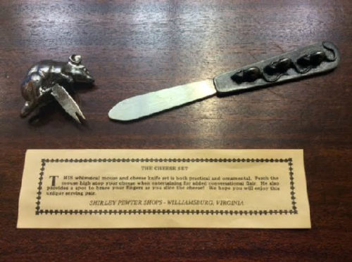 Figural Mouse Cheese Set - Antiqued Pewter Designs by Metzke - Williamsburg VA Pewter Shop