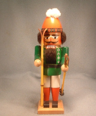 "Steinbach German Wooden 11.5"" Nutcracker Skier - Vintage From An Estate"