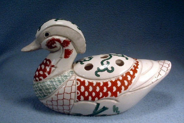 Duck Flower Arranger / Incense Burner - Ming Shard Duck - Vintage 1950s