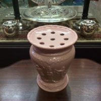 Wedgwood - Pink Porcelain Jasperware Vase with Flower Frog - Vintage High Gloss