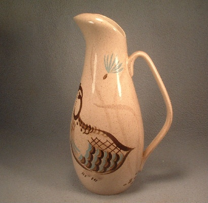 Quail Decorated Ice Lip Pitcher - Mid 20th Century - Modern Red Wing Pottery - Vintage