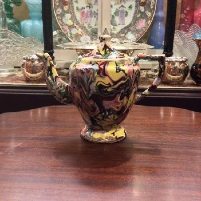 Marbelized Pearlware Staffordshire Teapot