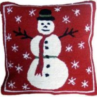 Hooked Wool Winter / Holiday Pillow - Snowman
