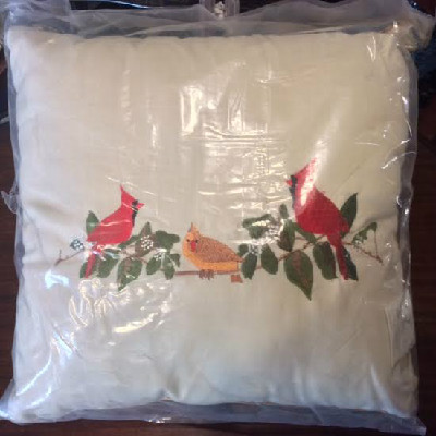 Embroidered Cardinal Pillow - Male & Female Cardinal