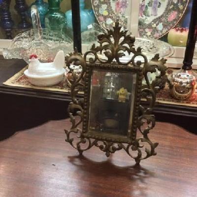 Victorian - Ornate Cast Iron - Dresser Mirror - Vintage National Bronze & Iron Works