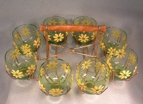 Modern Daisy Decorated - Green Glass Roly Poly Cocktail Tumblers - Mid1900s - 8 Tumblers w/ Caddy