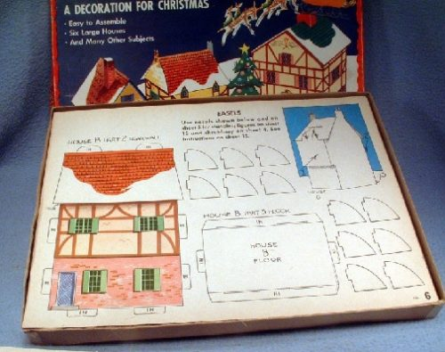 Winter Christmas Village - Punch Out And Build Set - Vintage 1940's Wallis Rigby