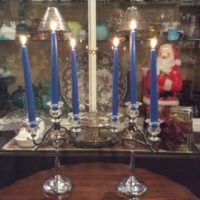 Pair Of Art Deco - Chrome & Crystal Glass Farberware w/ Cambridge Glass - 3 Candle Candelabra