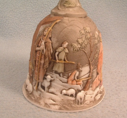 Fenton - Hand Painted Nativity Scene Bell - Artist Signed - White Satin Milk Glass - Vintage 1970s