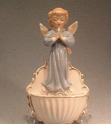 "Porcelain - Praying Angel - Holy Water Font - Vintage ""JAPAN"""