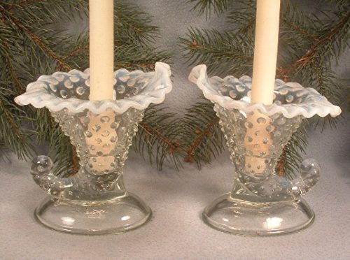 Pair Of Fenton French Opalescent Glass - Hobnail - Large Cornucopia Candlesticks - ca. 1943