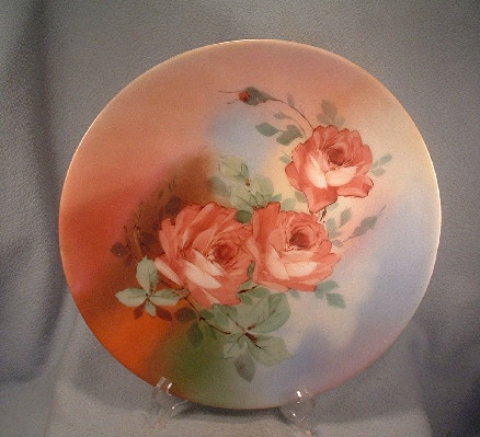 Victorian Hand Painted Roses - Hand Blown Bristol Glass - Plaque Plate Platter - Rough Pontil