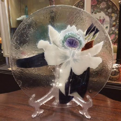 Victor Palumbo St. Luke - Hand Crafted American Art Glass - White Cattleya Orchid Bowl - 1980