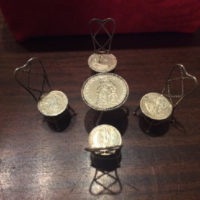 Silver Twisted Wire & Coins Miniature/Doll House Ice Cream Parlor Table & Chairs - 1794 Dutch Coin