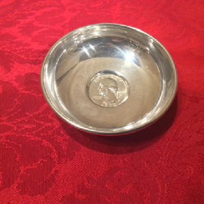 Sterling Pin Dish w/ United States Coin - 1959 Liberty Quarter